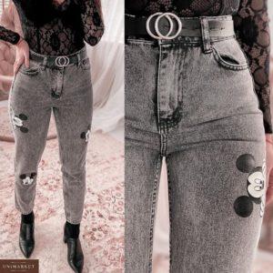 Заказать серые женские джинсы Mom с Микки Маусом в Украине