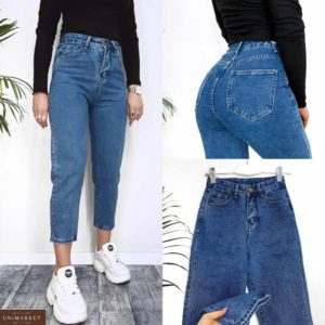 Заказать синие женские укороченные джинсы Mom из денима (размер 42-48) в Киеве. Днепре, Львове