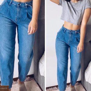 Заказать синие женские джинсы-бананы с высокой талией (размер 42-50) в Украине