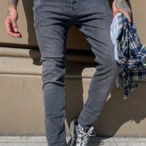 Заказать мужские серые зауженные джинсы с карманами в Украине