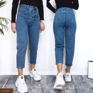 Заказать синие женские укороченные джинсы Mom из денима (размер 42-48) недорого