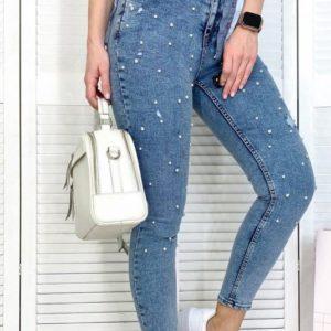 Заказать женские синие джинсы американка с жемчугом дешево