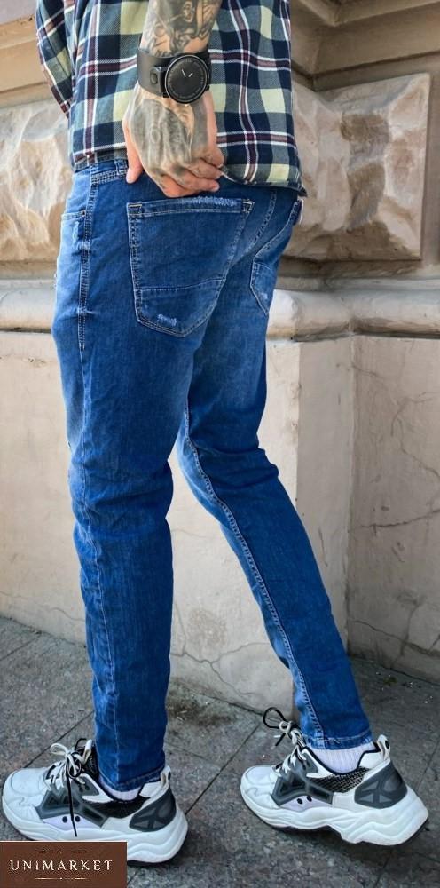 Купить мужские синие зауженные джинсы с небольшими царапками дешево
