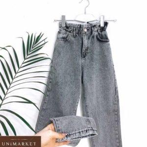 Заказать женские серые джинсы Mom на резинке дешево