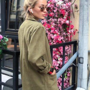 Заказать онлайн хаки женский льняной пиджак с карманами в Украине