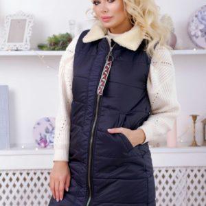 Заказать синюю женскую удлиненную жилетку на синтепоне с мехом (размер 42-48) в Украине