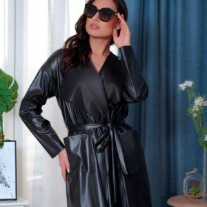 Заказать женский черный кардиган из эко кожи на поясе (размер 46-60) недорого