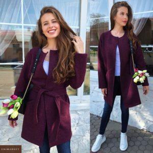 Купить бордо женский теплый кардиган с поясом без застежки (размер 42-48) по скидке