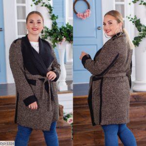Купить женский кардиган с воротником и карманами на поясе (размер 48-62) хаки недорого