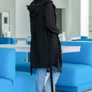Купить женский черный кардиган в пайетки с капюшоном (размер 46-48) выгодно