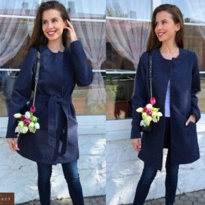 Приобрести синий женский теплый кардиган с поясом без застежки (размер 42-48) в Харькове, Львове