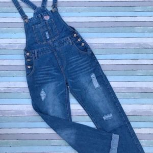 Купить синий женский джинсовый комбинезон с потертостями в Украине