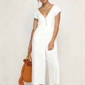 Приобрести белый женский легкий трикотажный комбинезон с коротким рукавом (размер 42-48) выгодно