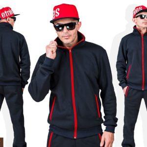 Купить в интернет-магазине черный мужской спортивный костюм из трехнити с цветными змейками (размер 46-56) выгодно