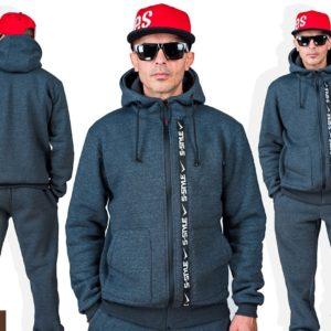 Купить онлайн графитовый мужской спортивный костюм из трехнитки с полоской (размер 46-56) дешево