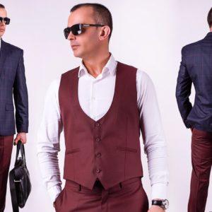 Заказать мужской бордовый классический костюм тройка с жилеткой (размер 46-56) недорого