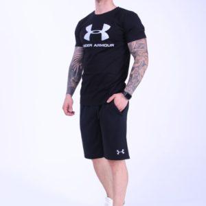 Заказать черный мужской костюм футболка+шорты Under Armour (размер 46-52) дешево