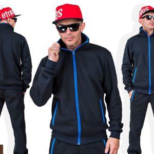 Приобрести черный мужской спортивный костюм из трехнити с цветными змейками (размер 46-56) по низким ценам