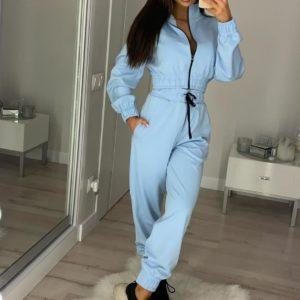 Заказать голубой женский спортивный костюм с кофтой на змейке выгодно