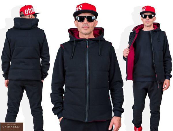 Заказать черный мужской однотонный спортивный костюм тройка (размер 48-54) в Киеве, Днепре, Харькове