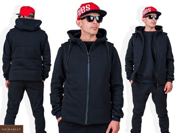 Заказать черный мужской однотонный спортивный костюм тройка (размер 48-54) в Украине