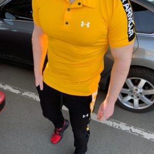 Заказать онлайн желтый мужской спортивный костюм поло+штаны со змейками (размер 46-54) в Киеве, Днепре, Львове