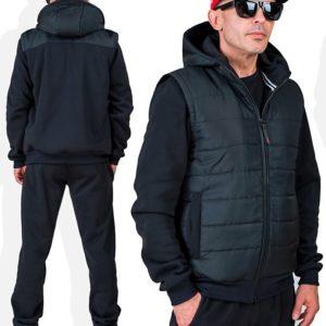 Заказать онлайн черный мужской спортивный костюм тройка с жилеткой (размер 46-56) дешево