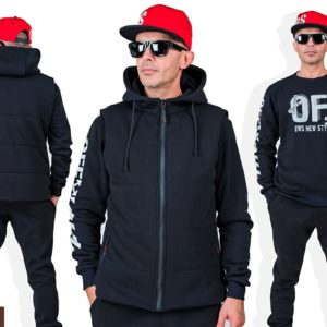 Купить онлайн черный мужской спортивный костюм тройка с накаткой (размер 46-54) по низким ценам