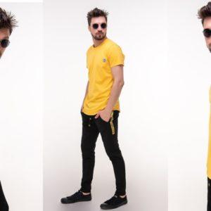 Приобрести желтый мужской спортивный костюм с футболкой off white (размер 46-52) недорого