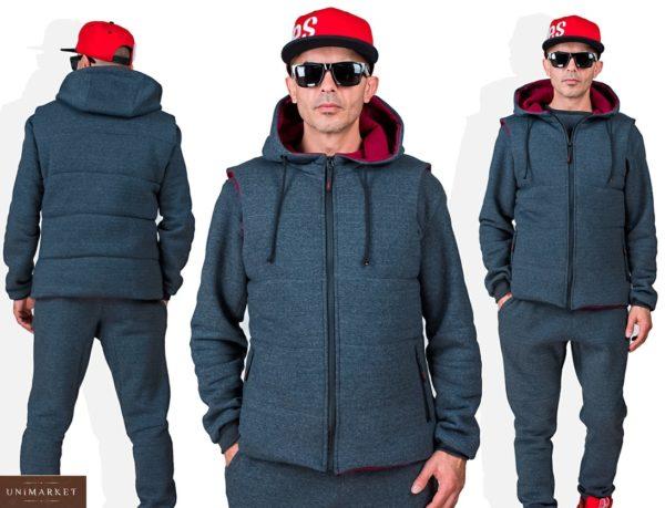 Купить онлайн серый мужской однотонный спортивный костюм тройка (размер 48-54) недорого