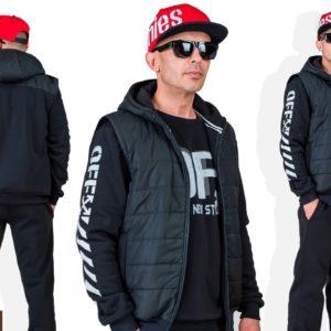 Купить по скидке черный мужской спортивный костюм тройка с плащевкой с накаткой (размер 46-56) онлайн
