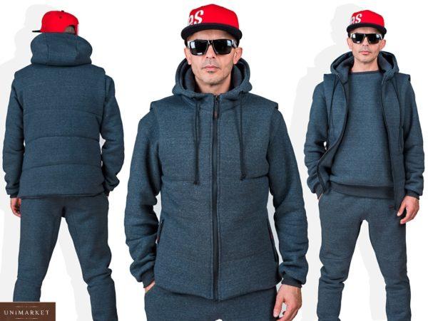 Приобрести серый мужской однотонный спортивный костюм тройка (размер 48-54) со скидкой
