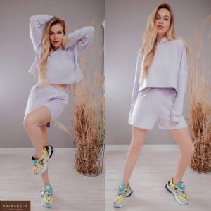 Купить лавандовую женскую укороченную спортивную кофту из трехнити с капюшоном (размер 42-48) в Одессе недорого