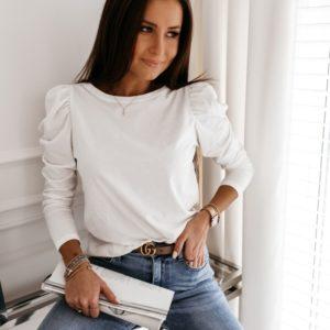 Заказать белую женскую нежную кофту с длинными рукавами-фонариками дешево