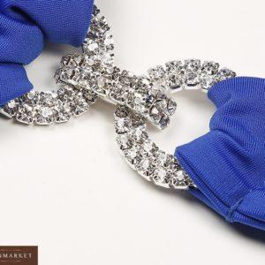Приобрести синий женский купальник-бикини с камнями на завязках по низкой цене