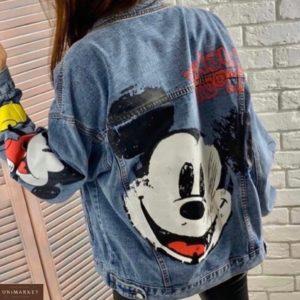 Купить синюю женскую принтованную джинсовую куртку с Микки Маусом дешево