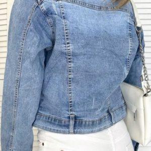 Заказать женскую синюю джинсовую укороченную куртку на пуговицах (размер 40-50) в Киеве, Харькове, Львове