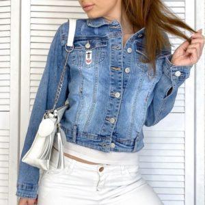 Купить женскую синюю джинсовую укороченную куртку на пуговицах (размер 40-50) в Днепре, Одессе