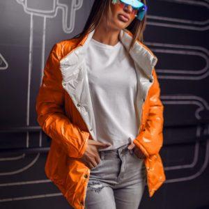 Купить серый с оранжевым женскую удлиненную свободную двухстороннюю куртку (размер 42-60) дешево
