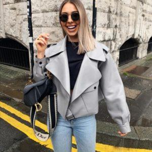 Купить серую женскую куртку оверсайз из эко кожи на замше онлайн в инетрнете
