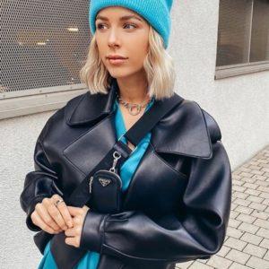 Заказать черную женскую куртку оверсайз из эко кожи на замше по низким ценам