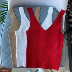 Придбати бежеву, білу жіночу базову трикотажну майку з V-подібним вирізом за низькими цінами