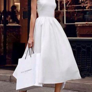 Заказать женское белое платье миди из хлопка с пышной юбкой (размер 42-48) по скидке