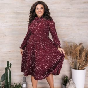 Заказать марсала женское плиссированное платье в горошек с длинным рукавом (размер 42-56) по низким ценам