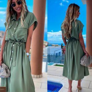 Купить оливковое женское платье-рубашка из софт-шелка на кнопках в Одессе, Львове, Днепре