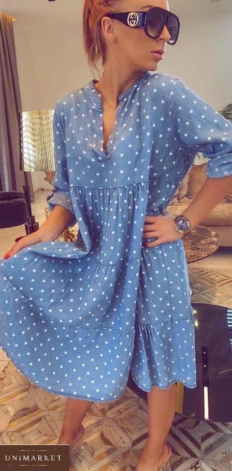 Купить онлайн женское летнее джинсовое платье в горошек (размер 42-58) голубое в Украине