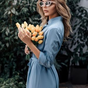 Приобрести голубое женское длинное платье из штапеля с поясом и разрезами по бокам выгодно