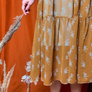 Заказать горчичное женское нежное платье-двойка выгодно