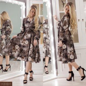 Приобрести коричневое женское платье миди на запах с цветочным принтом (размер 42-48) в Украине