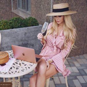 Заказать онлайн розовое женское платье мини в горох на запахе с рукавами клеш в Украине